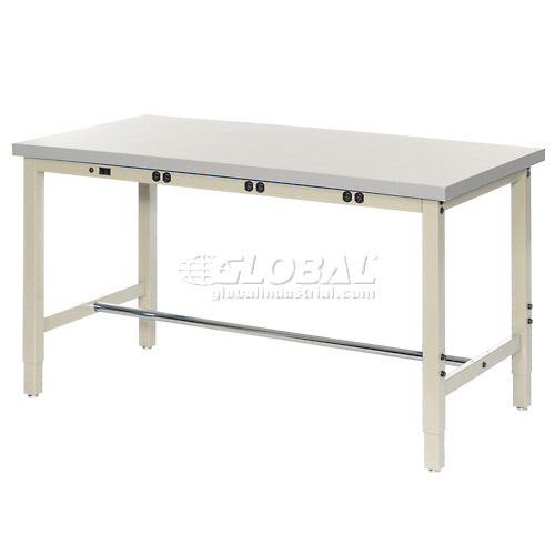"60""W x 24""D Lab Bench with Power Apron Plastic Laminate Square Edge Tan by"