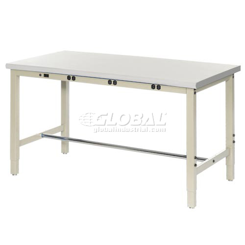 "60""W x 30""D Lab Bench with Power Apron Plastic Laminate Safety Edge Tan by"