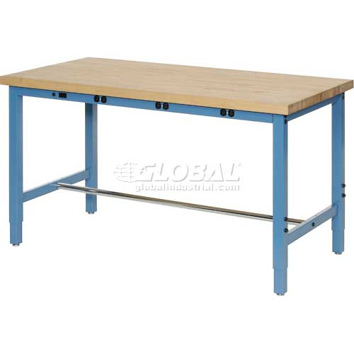 "60""W x 24""D Production Workbench with Power Apron Maple Butcher Block Square... by"