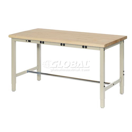 """48""""W x 30""""D Production Workbench with Power Apron Maple Butcher Block Safety... by"""