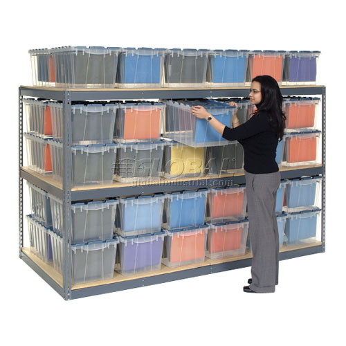 "Record Storage Rack Gray 48""W x 24""D x 60""H With Polyethylene File Boxes by"