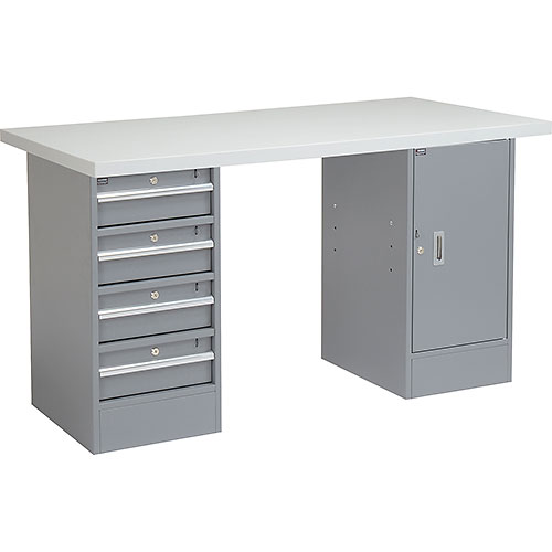 "Click here to buy 72"" W x 30"" D Pedestal Workbench W/4 Drawers & 1 Cabinet, Plastic Laminate Square Edge Gray."