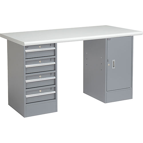 """Click here to buy 72"""" W x 30"""" D Pedestal Workbench W/4 Drawers & 1 Cabinet, Plastic Laminate Safety Edge Gray."""