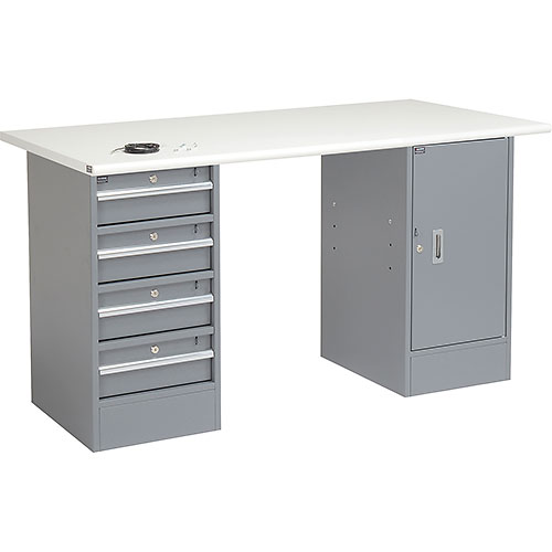 "Click here to buy 60"" W x 30"" D Pedestal Workbench W/4 Drawers & Cabinet, ESD Safety Edge Gray."
