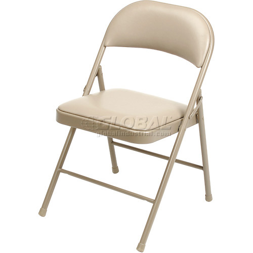 Padded Vinyl Folding Chair Beige Package Count 4 by