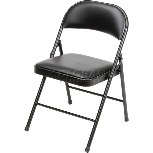 Padded Vinyl Folding Chair Black Package Count 4 by