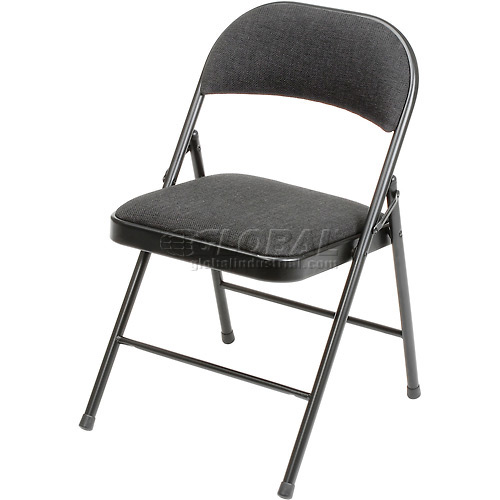 Padded Fabric Folding Chair Black Package Count 4 by
