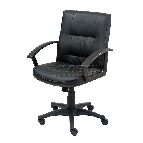 Executive Leather Chair Mid Back Black by