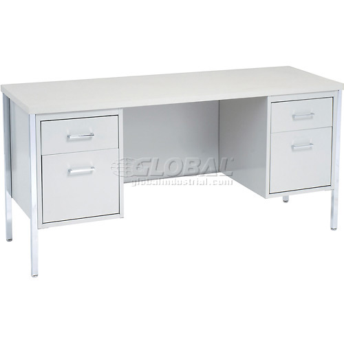"MBI Double Pedestal Credenza 60"" x 20 "" Gray/Gray Top by"