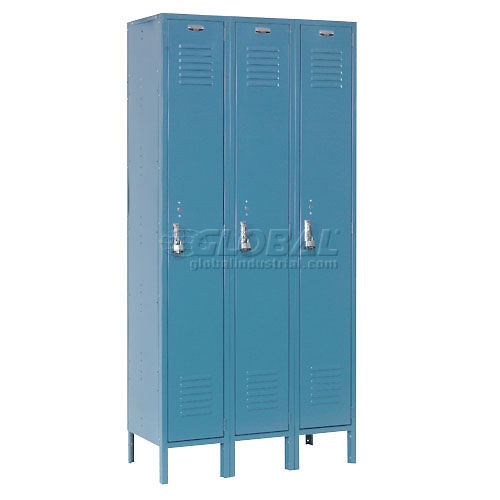 Extra Wide Single Tier Locker 15x18x72 3 Door Pull Latch Ready to Assemble Blue by