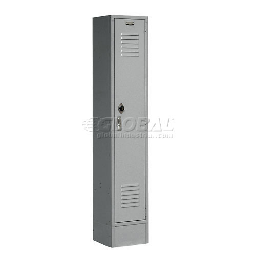 Extra Wide Single Tier Locker 15x18x72 1 Door Pull Latch Assembled Gray by