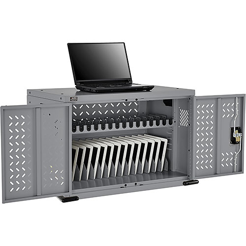 Click here to buy 16-Device Charging Cabinet for Chromebooks Laptops and iPad Tablets Gray, Unassembled.