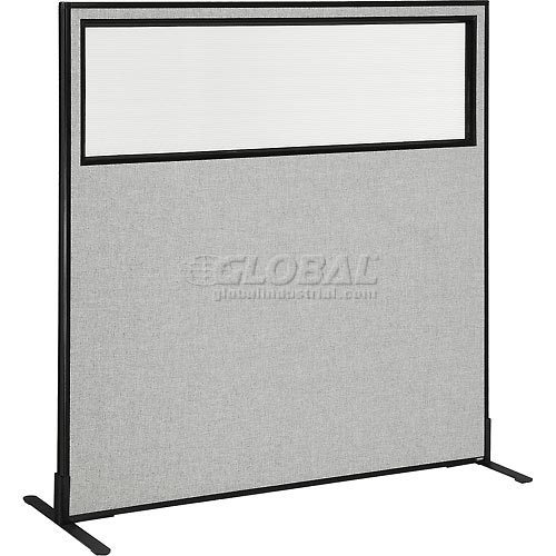 "Freestanding Office Partition Panel with Partial Window, 60-1/4""W x 60""H, Gray by"
