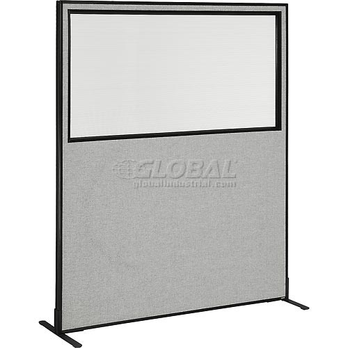 "Freestanding Office Partition Panel with Partial Window, 60-1/4""W x 72""H, Gray by"
