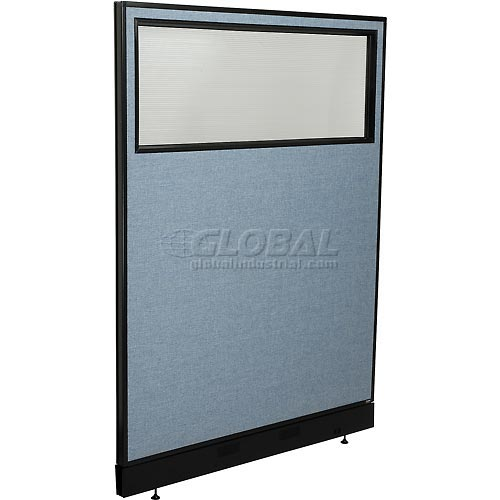 """Office Partition Panel with Partial Window & Pass-Thru Cable, 48-1/4""""W x 64""""H, Blue by"""