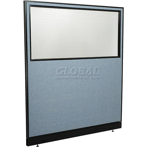 "Office Partition Panel with Partial Window & Pass-Thru Cable, 60-1/4""W x 64""H, Blue by"