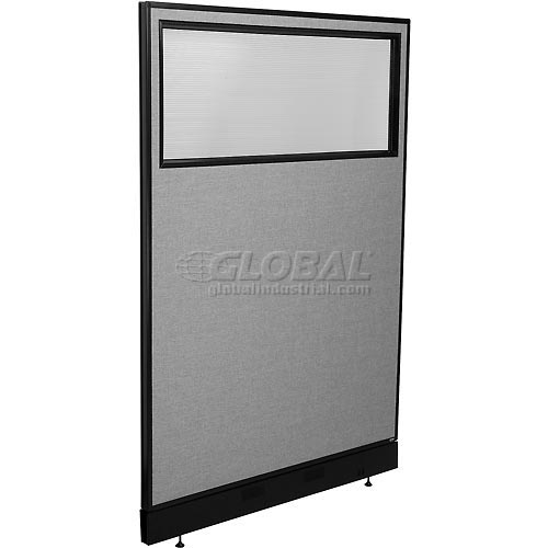 """Office Partition Panel with Partial Window & Pass-Thru Cable, 48-1/4""""W x 76""""H, Gray by"""