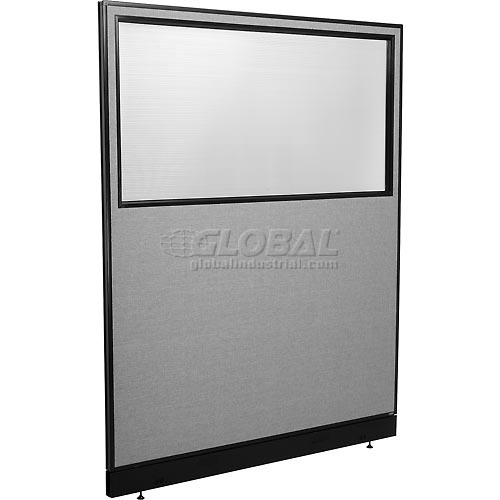 "Office Partition Panel with Partial Window & Pass-Thru Cable, 60-1/4""W x 76""H, Gray by"