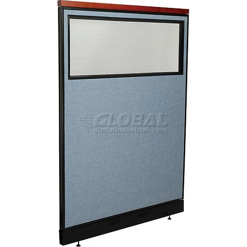 """Deluxe Office Partition Panel with Partial Window & Pass-Thru Cable, 48-1/4""""W x 65-1/2""""H, Blue by"""