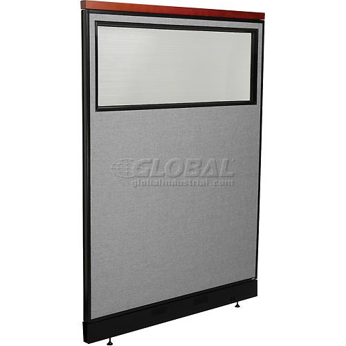 """Deluxe Office Partition Panel with Partial Window & Pass-Thru Cable, 48-1/4""""W x 65-1/2""""H, Gray by"""