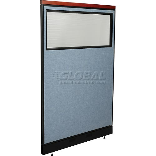 """Deluxe Office Partition Panel with Partial Window & Pass-Thru Cable, 48-1/4""""W x 77-1/2""""H, Blue by"""