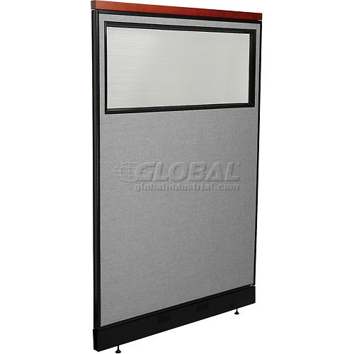 """Deluxe Office Partition Panel with Partial Window & Pass-Thru Cable, 48-1/4""""W x 77-1/2""""H, Gray by"""