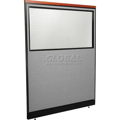"Deluxe Office Partition Panel with Partial Window & Pass-Thru Cable, 60-1/4""W x 77-1/2""H, Gray by"