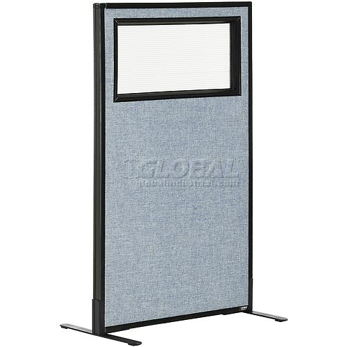 "Freestanding Office Partition Panel with Partial Window, 24-1/4""W x 42""H, Blue by"