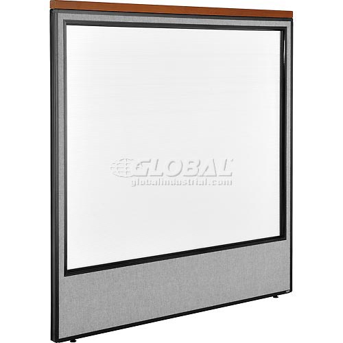 "Deluxe Office Partition Panel with Full Window, 60-1/4""W x 61-1/2""H, Gray by"