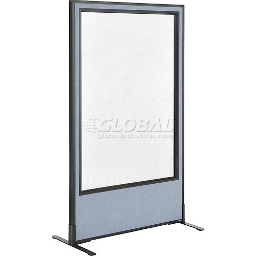 "Freestanding Office Partition Panel with Full Window, 36-1/4""W x 60""H, Blue by"