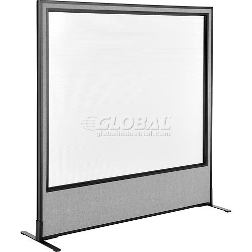 "Freestanding Office Partition Panel with Full Window, 60-1/4""W x 60""H, Gray by"