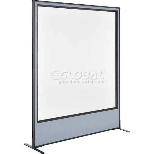 "Freestanding Office Partition Panel with Full Window, 60-1/4""W x 72""H, Blue by"
