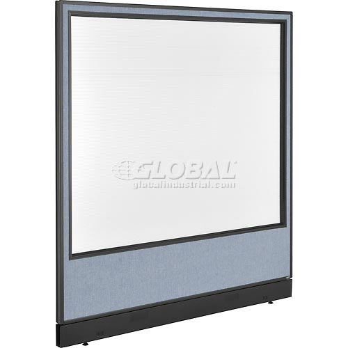 "Office Partition Panel with Pass-Thru Cable & Full Window, 60-1/4""W x 64""H, Blue by"