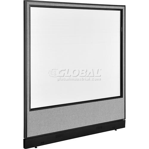"""Office Partition Panel with Pass-Thru Cable & Full Window, 60-1/4""""W x 64""""H, Gray by"""