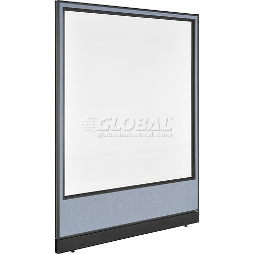 """Interion Office Cubicle Panel with Pass-Thru Cable & Full Window, 60-1/4""""W x 76""""H, Blue by"""
