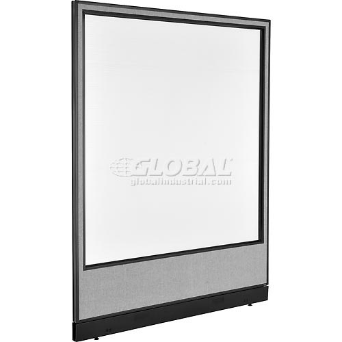 """Interion Office Partition Panel with Pass-Thru Cable & Full Window, 60-1/4""""W x 76""""H, Gray by"""