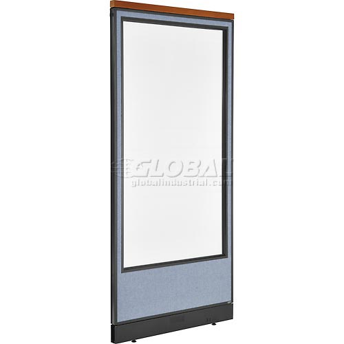 """Deluxe Office Partition Panel with Full Window & Pass-Thru Cable, 36-1/4""""W x 77-1/2""""H, Blue by"""