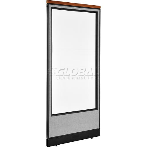 """Deluxe Office Partition Panel with Full Window & Pass-Thru Cable, 36-1/4""""W x 77-1/2""""H, Gray by"""