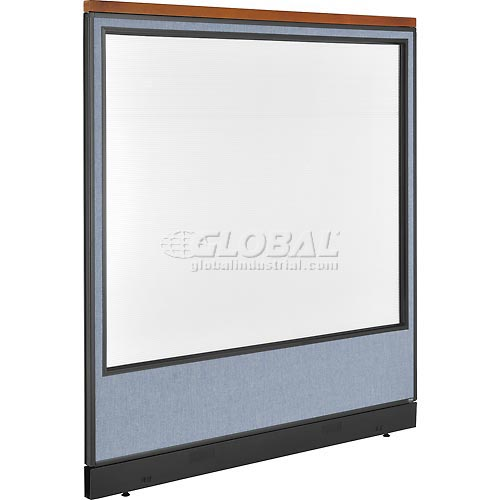 "Deluxe Office Partition Panel with Full Window & Pass-Thru Cable, 60-1/4""W x 65-1/2""H, Blue by"