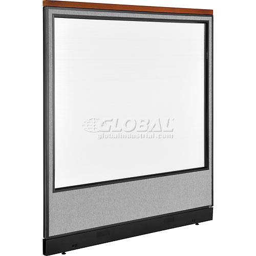 """Deluxe Office Partition Panel with Full Window & Pass-Thru Cable, 60-1/4""""W x 65-1/2""""H, Gray by"""