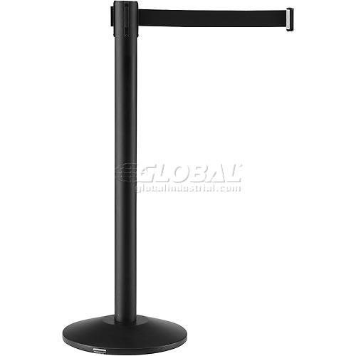 Black Crowd Control Stanchion With 7-1/2 Ft Black Belt Package Count 2 by