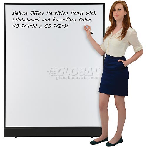 """Office Partition Panel with Whiteboard and Pass-Thru Cable, 48-1/4""""W x 64""""H by"""