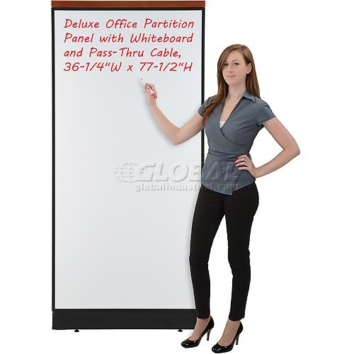 """Deluxe Office Partition Panel with Whiteboard and Pass-Thru Cable, 36-1/4""""W x 77-1/2""""H by"""