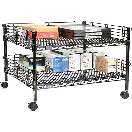 "Buy Nexel 2-Shelf Black Wire Shelf Copier Stand/Media Supply Cart, 32""W x 30""D x 20""H"