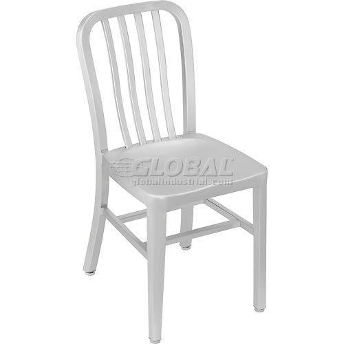 "Aluminum Dining Chair, 15-1/3""W x 20-1/2""D x 33""H, 4 Vertical Slat Back Package Count 2 by"