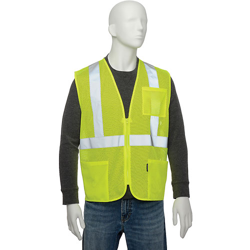 "Global Industrial Class 2 Hi-Vis Safety Vest, 2"" Reflective Strips, Polyester Mesh, Lime, Size L by"