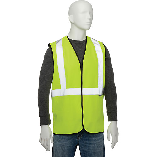 "Global Industrial Class 2 Hi-Vis Safety Vest, 2"" Reflective Strips, Polyester Solid, Lime, Size S/M by"