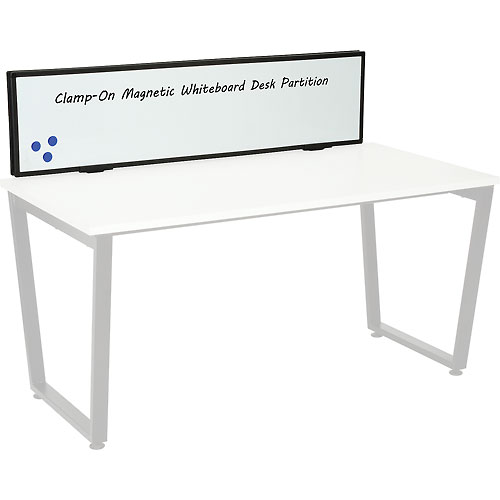 Interion Universal Clamp-On Desk Partition Magnetic Whiteboard by