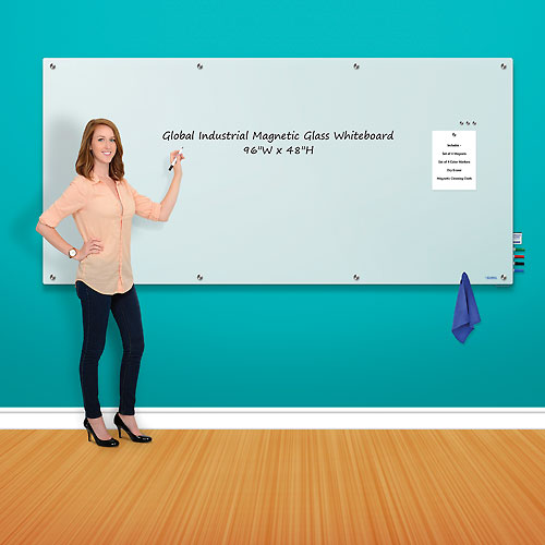 Buy Magnetic Glass Whiteboard 96 x 48 White