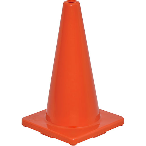 "18"" Traffic Cone, Non-Reflective, Solid Orange Base, 2-1/2 lbs by"